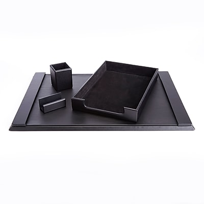 Royce Leather Genuine Leather Pen Cup Organizer, Letter Tray, Blotter and Business Card Holder (RL-OFFICE-4)