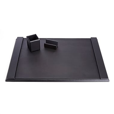 Royce Luxury Genuine Leather Desk Set: Pen Cup, Blotter and Business Card Holder Lined with Genuine Suede, Black