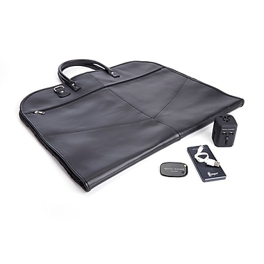 Royce Luxury Travel Set: Garment Bag with Tracking Device, Portable Power Bank and Int'l Adapter, Black