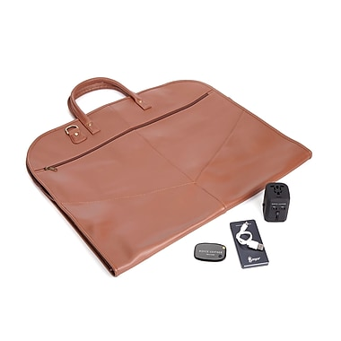 Royce Luxury Travel Set: Garment Bag with Tracking Device, Portable Power Bank and Int'l Adapter, Tan