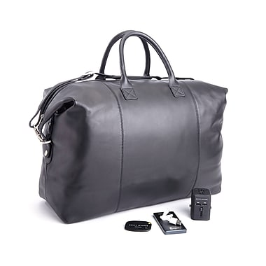 Royce Luxury Travel Set: Lightweight, Expandable Duffel Bag w/Tracking Device, Portable Power Bank & Int'l Adapter, Black
