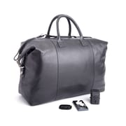 Royce Leather Leather Luxury Travel Set: Duffel Bag with Bluetooth Tracking, Portable Power Bank, & International Adapter