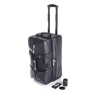 Royce Luxury Travel Set: Rolling Duffel Bag with Tracking Device, Portable Power Bank and Int'l Adapter, Black
