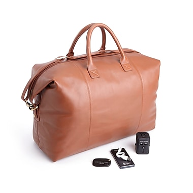 Royce Luxury Travel Set: Lightweight, Expandable Duffel Bag w/Tracking Device, Portable Power Bank & Int'l Adapter, Tan