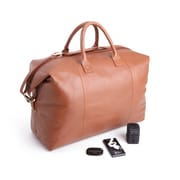 Royce Leather Leather Luxury Travel Set: Duffel Bag with Bluetooth Tracking Device, Portable Power Bank, & International Adapter