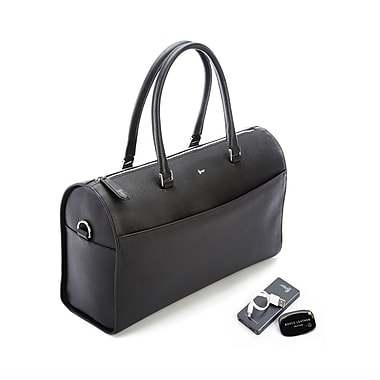 Royce RFID Blocking Saffiano Barrel Bag w/Bluetooth-Based Tracking Device for Locating Luggage & Portable Power Bank, Black