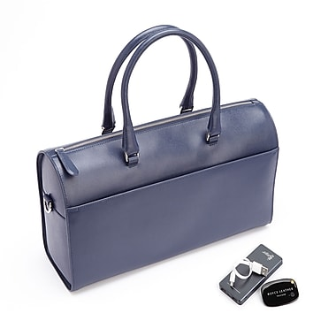 Royce RFID Blocking Saffiano Barrel Bag w/Bluetooth-Based Tracking Device for Locating Luggage & Portable Power Bank, Blue