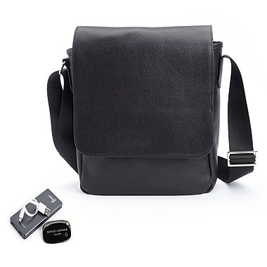 Royce Genuine Leather Executive Crossbody IPad Bag with Universal Tracking Device & Portable Battery Power Bank, Black