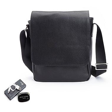 Royce Leather – Sac pour iPad en cuir véritable, en bandoulière, appareil de localisation universel, chargeur portatif, noir