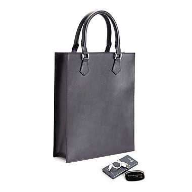 Royce Saffiano Leather RFID Blocking Slim Tote Bag w/Universal Tracking Device & Portable Battery Power Bank, Black