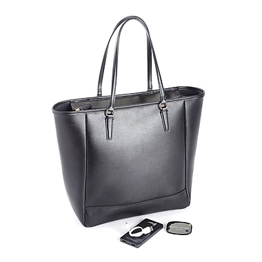 Royce Saffiano Leather RFID Blocking 24 Hour Tote Bag w/Universal Tracking Device & Portable Battery Power Bank, Black