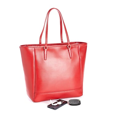 Royce Saffiano Leather RFID Blocking 24 Hour Tote Bag w/Universal Tracking Device & Portable Battery Power Bank, Red