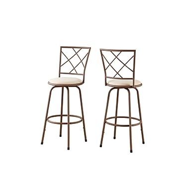 Monarch Metal Barstool, Brown / Beige Fabric Seat, 2/Pack