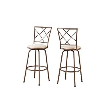 Monarch – Tabouret de bar en métal, brun/siège en tissu beige, 2/paquet
