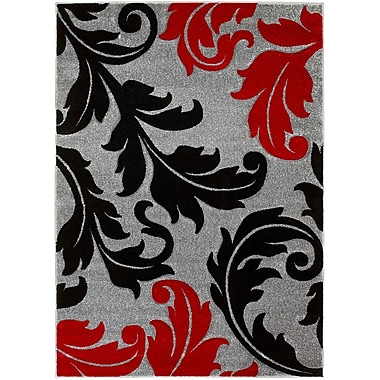 Brady Home Floral Gray Area Rug; 8' x 11'