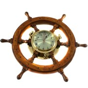 Urban Designs 26'' Nautical Captain's Ship Wheel Porthole Wall Mount Clock