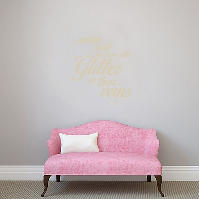 SweetumsWallDecals 3 Piece Some Girls are Born w/ Glitter Girls Wall Decal Set; Beige
