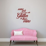 SweetumsWallDecals 3 Piece Some Girls are Born w/ Glitter Girls Wall Decal Set; Cranberry