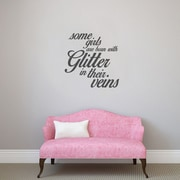 SweetumsWallDecals 3 Piece Some Girls are Born w/ Glitter Girls Wall Decal Set; Dark Gray