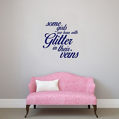 SweetumsWallDecals 3 Piece Some Girls are Born w/ Glitter Girls Wall Decal Set; Navy
