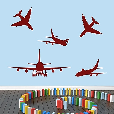 SweetumsWallDecals 5 Piece Airplane Wall Decal Set; Cranberry