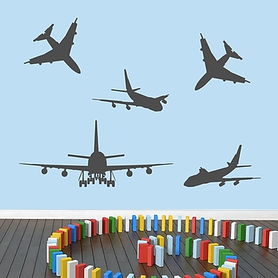 SweetumsWallDecals 5 Piece Airplane Wall Decal Set; Dark Gray