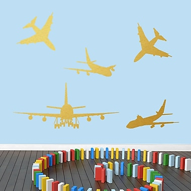 SweetumsWallDecals 5 Piece Airplane Wall Decal Set; Gold
