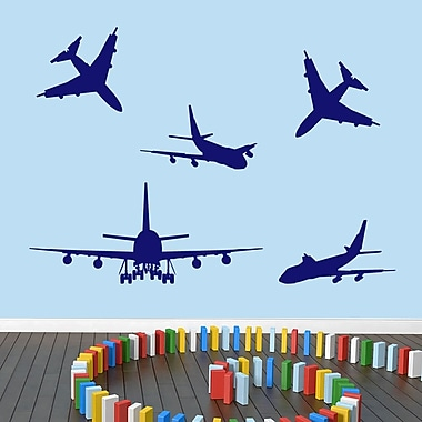 SweetumsWallDecals 5 Piece Airplane Wall Decal Set; Navy