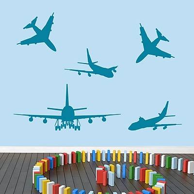 SweetumsWallDecals 5 Piece Airplane Wall Decal Set; Teal