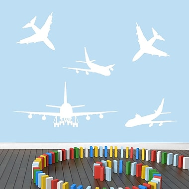 SweetumsWallDecals 5 Piece Airplane Wall Decal Set; White
