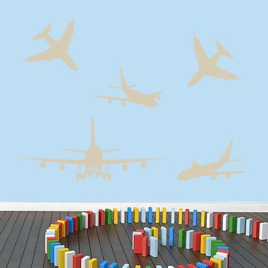 SweetumsWallDecals 5 Piece Airplane Wall Decal Set; Beige