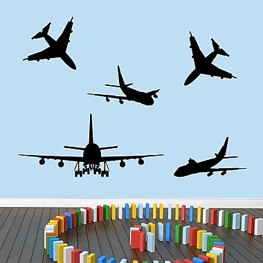 SweetumsWallDecals 5 Piece Airplane Wall Decal Set; Black