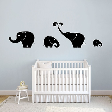SweetumsWallDecals 4 Piece Elephant Wall Decal Set; Black