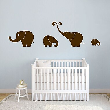 SweetumsWallDecals 4 Piece Elephant Wall Decal Set; Brown