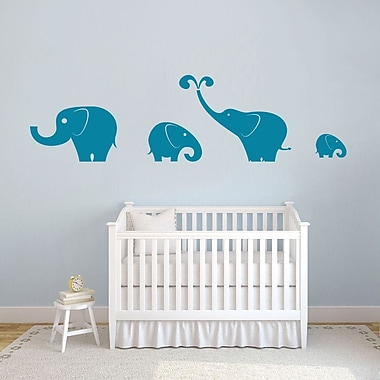 SweetumsWallDecals 4 Piece Elephant Wall Decal Set; Teal
