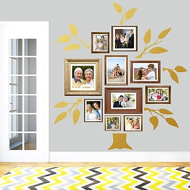 SweetumsWallDecals 7 Piece Family Tree Wall Decal Set; Gold