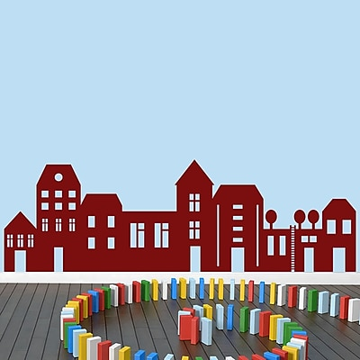 SweetumsWallDecals Little City Wall Decal Set; Cranberry