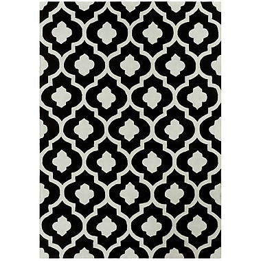 Brady Home Hand Carved Trellis Black/Light Gray Area Rug; 5' x 7'
