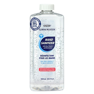 Zytec Germ Buster Hand Sanitizer Gel Refill Aloe, Vitamin E & Moisturizers, 1050ml, 2/Pack, (01209-02)