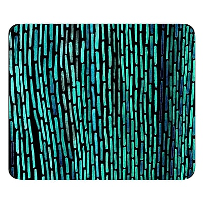 OTM Prints Black Mouse Pad, Dashes Peacock