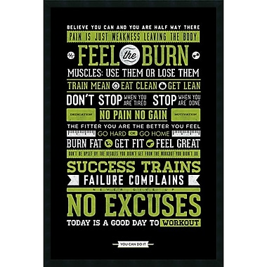 Amanti Art Gym Motivational Framed Art Print with Gel Coated Finish, 25