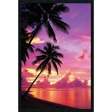 Amanti Art Tahitian Sunset Framed Art Print with Gel Coated Finish, 25