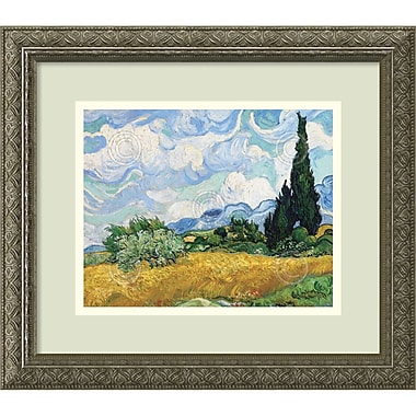 Amanti Art Vincent van Gogh Wheatfield with Cypresses Framed Art Print, 16