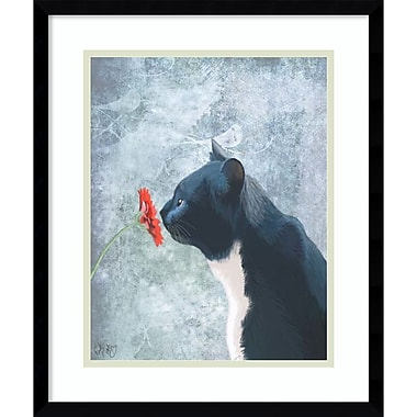 Amanti Art Fab Funky Black Cat Sniffing Flower Framed Art Print, 16