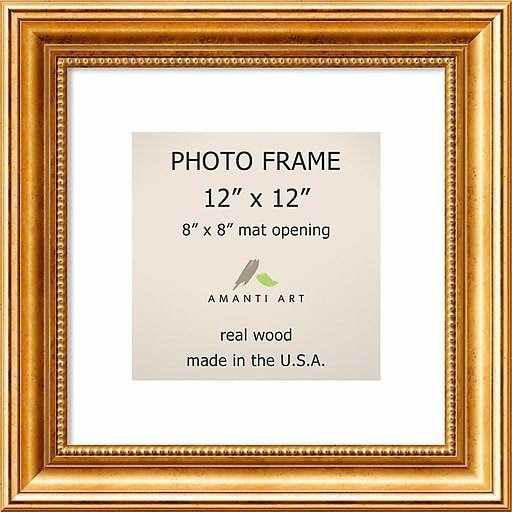 Amanti Art Townhouse Gold Wood Photo Frame 12 X 12 Matted To 8 X