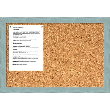 Amanti Art Sky Blue Rustic Cork Board Medium Message Board, 26
