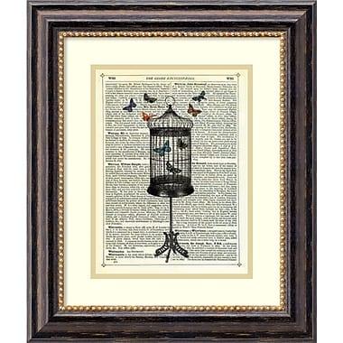 Amanti Art ? Impression « Bird Cage and Butterflies » par Marion McConaghie, 17 x 20 po, cadre noir (DSW1418450)