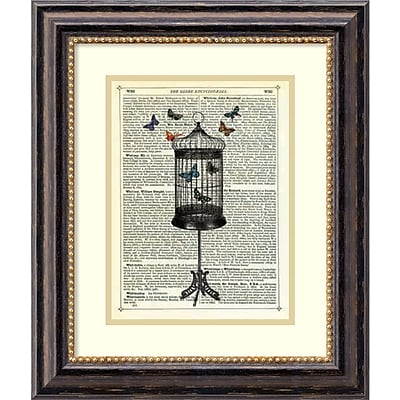 Amanti Art Marion McConaghie 'Bird Cage & Butterflies' Art Print 17 x 20 in. Black Frame (DSW1418450)