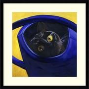 Amanti Art Isy Ochoa 'Cat in the Watering Can, 1996' Art Print 19 x 19 in. Black Wood Frame (DSW1418547)