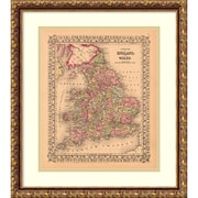 Amanti Art Ward Maps 'County Map of England and Wales, 1867' Art Print 18 x 21 in. Antique Bronze Wood Frame (DSW987763)